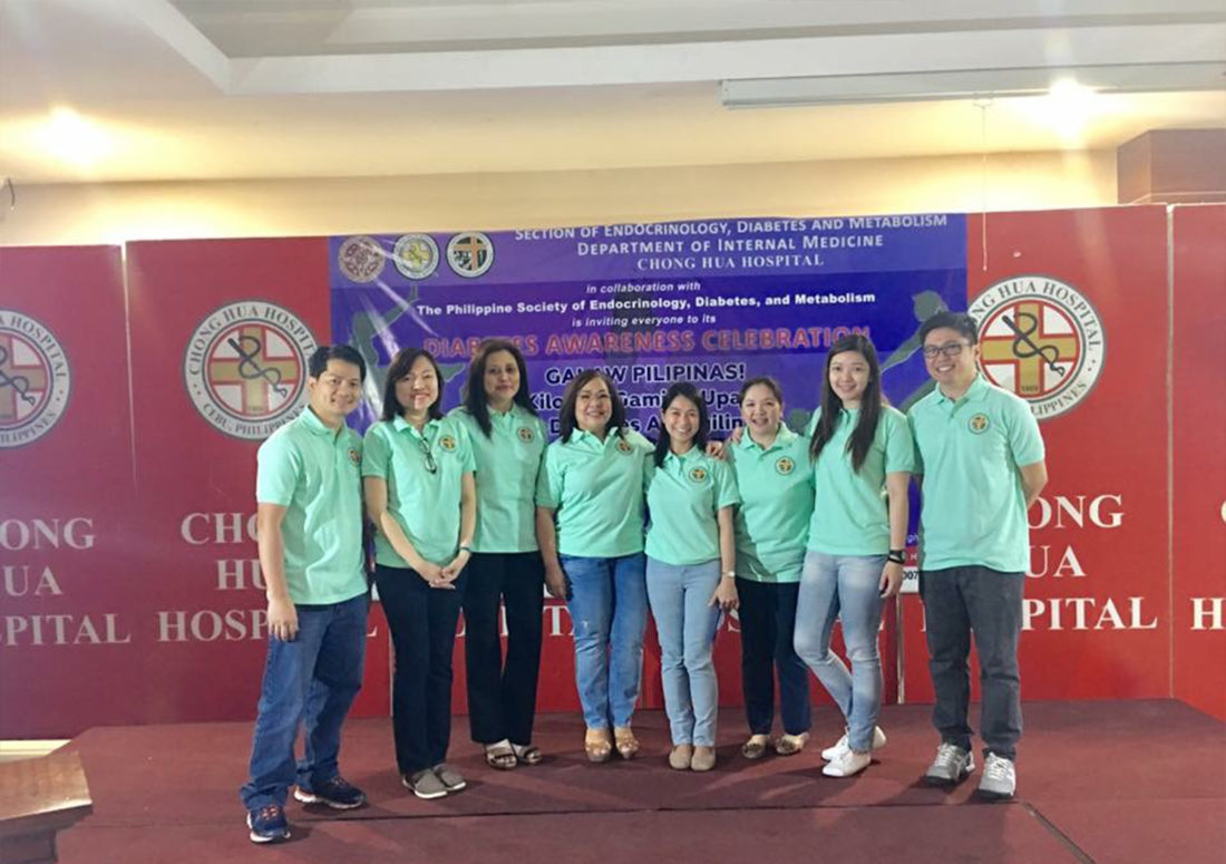 During the culminating activity of the Diabetes Awareness Week Celebration 2017. (L-R: Dr. Sarael Brobo, Dr. Mae Rhea Lim-Pacoli, Dr. Imelda Bilocura, Dr. Gorgonia Panilagao, Dr. Waynila Lim-Cuizon, Dr. Vircel Tiu, Dr. Lyzanne Tam-Go, Dr. Alistair Dela Cruz)