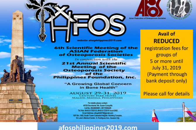 AFOS Philippines 2019 – A Growing Global Concern in Bone Health